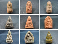 A collection of 9 Buddha amulets - Thailand - circa 1950 and later.