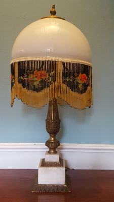 French empire boudoir beaded shade glass table lamp marble and brass,second half 20th century - 56 cm