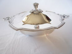 Silver plated cover dish on base with decorated edge and handles, France, marked , ca. 1950