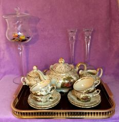 J. Kronester, Bavaria tea service on a tray, two crystal candle holders and a bonbonniere.
