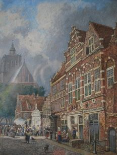 Aelias Pieter Van Bommel-attributed to-(1819-1890)-cityscape