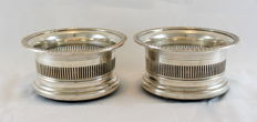 Antique Early 20th Century Pair of Silver Plate Wine Coaster With Wooden Interior Base