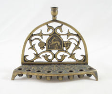 Judaica - Back Oil Menorah - Hannukiah - Sculptural Bronze - Deer at the vineyard - Israel - ca. 1950's