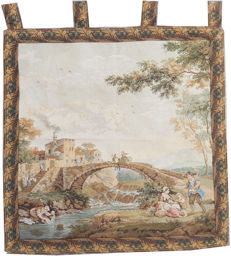 Beautiful vintage pictorial tapestry , second half of the 20th century, France 79 cm x 79 cm,