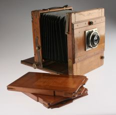 Wooden / travel camera with Carl Zeiss Jena Dagor 6.8 / 18 cm
