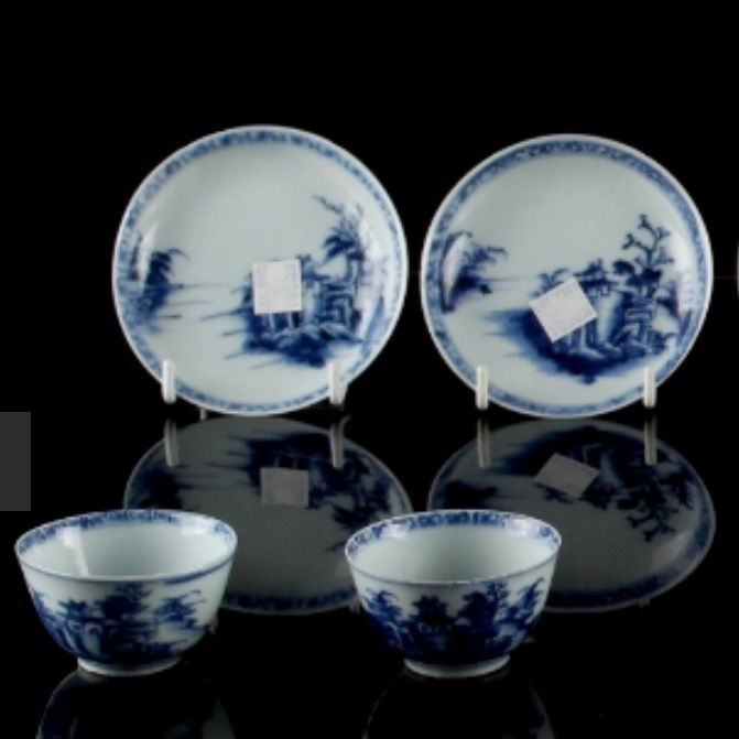 Set of 2 Nanking cargo tea bowls and saucers - China - circa 1750