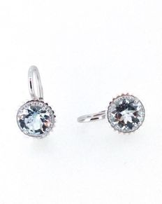 Capriotti Gioielli: earrings in the shape of cupcakes, 18 kt white gold - 3.09 ct aquamarine and 0.16 ct diamonds
