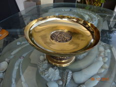 Beautiful, large brass footrest, counter top bowl, approx. 32 cm Ø