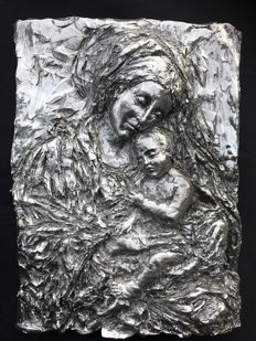 Madonna and child bas-relief, signed by Eugenio Lenzi