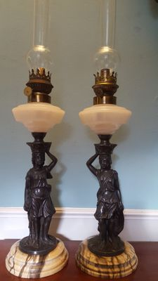 Pair of Patinated Spelter Figural Oil Lamp, 19th c.