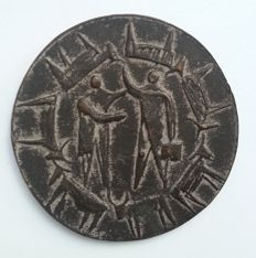 Artist unknown, possibly Fred Carasso - bronze medal with two figures and cows
