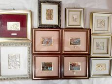 Beautiful lot of eleven silver 800/925 paintings, all with certificate