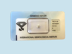 Diamond, 0.31 ct, excellent round brilliant cut, colour E, clarity VVS2