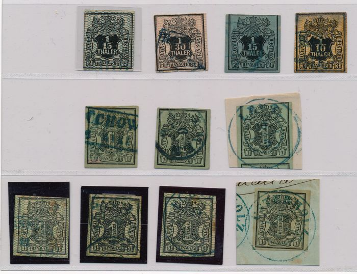 Hannover – 1850 – 1855 – batch of 11 stamps with Michel 1