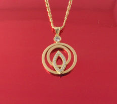 18 kt. Gold necklace and Pendant decorated with 19 zircons, total weight - 4.93 g