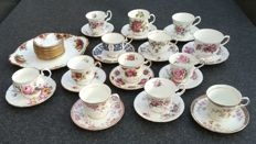 English porcelain cup and saucers and petit four set with Royal Albert, among others