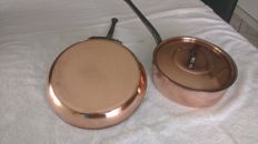 antique hammered copper saucepan with its lid and a very nice frying pan with a polished finishing MADE IN FRANCE