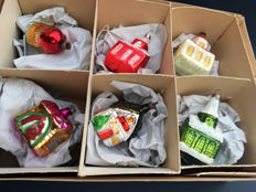 A Box Full of Antique Christmas Houses to Hang in the Tree