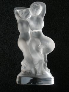 "Lalique Crystal France - Couple of nude dancers ""Pan and Diana"""