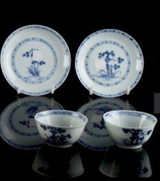 Nanking cargo pair of teabowls  and saucer - China - circa 1750