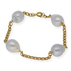 18 kt yellow gold - Bracelet - South Sea baroque pearls of 10.80 mm - Length 19 cm