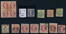 Hanover - 1850-1855 - collection of 11 stamps and a block of four