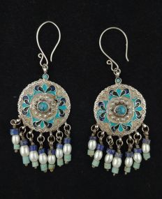 Antique earrings in silver with coloured enamels and turquoise - Afghanistan, mid 20th century