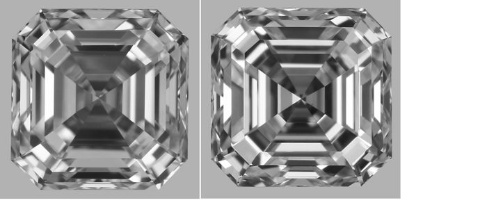 Pair - Asscher (Square Emerald) Cut Diamonds 1.40ct total E VS1/F VS1  GIA - Low Reserve Price - # J049-J032