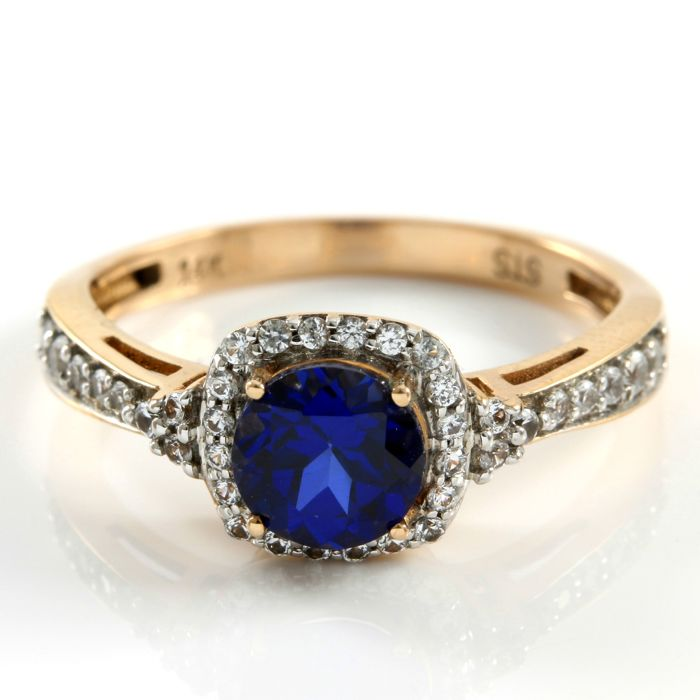14kt Rose Gold 1 25 ct Synthetic Blue Sapphire and 0 20 ct