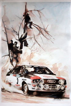 Audi Four A1. Portugal rally 1983 - 50 x 35 cm Watercolour - Gilberto Gaspar