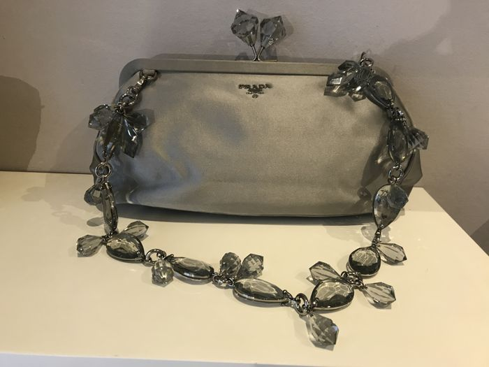 6df7e21cfa6a ... 50% off prada graphite satin crystal kisslock clutch bag cb465 31030