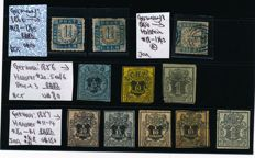 Hannover and Holstein - 1850 - 1855 - batch of 11 postage stamps with Hannover Michel 7