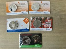 The Netherlands - 5 different medals 2016 and 2017 in coin cards