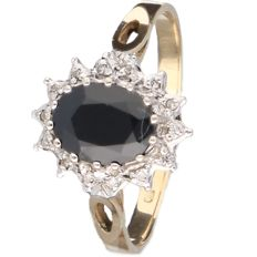 14 kt, Bi-colour ring set with sapphire and diamond - Ring size 18.5 mm -