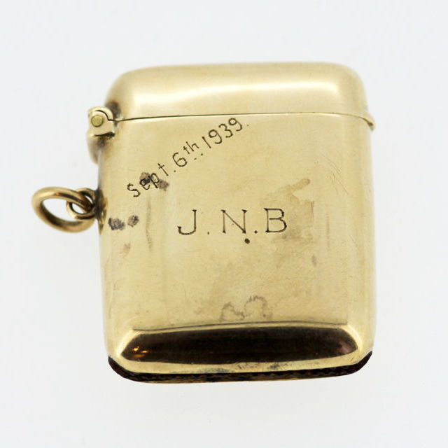 "Antique 9K Yellow Gold Vesta With Initials ""J.N.B"", By William Base, Birmingham 1939"