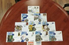 Europe - 11 x FDC Various Countries incl Comm. 2 Eur Coin & Stamp - UNC