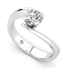 White gold ring with 0.51 ct, on brilliant cut D (finest white)/VS2 diamond - With HRD Certificate