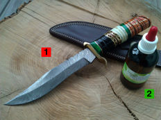 1 x XXL Damascus Steel knife / outdoor/camping - length 29.5 cm + 100 ml Camellia care oil for the care of the handle and the blade length