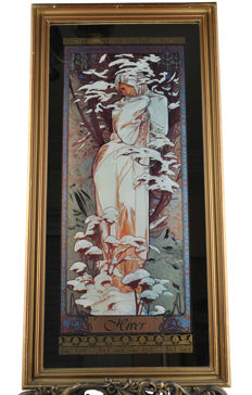 """Hiver"" mirror by Alphonse Mucha - 1970's, France"