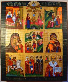 Russian orthodox iсon,  Nine-part icon, hand painted, tempera, wood, XX th century.