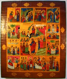 Russian orthodox iсon, great feasts of the orthodox church, hand painted, tempera, wood, XX th century.