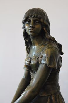 Auguste Moreau (1834-1917) - Spelter statue - France - late 19th, early 20th century
