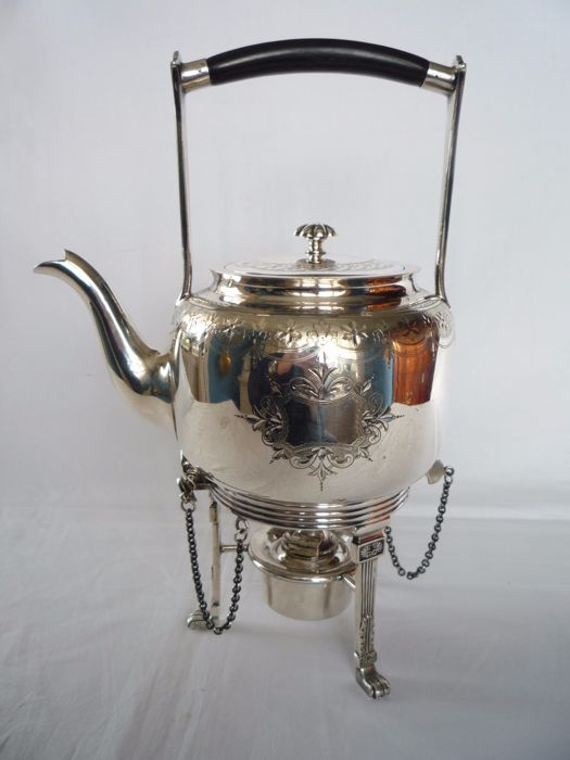 Silver plated Art Deco kettle with ebony handle on original spirit burner, Mappin & Webb's, England, ca. 1920