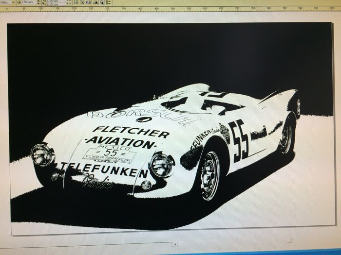 Decal artwork Porsche 550 Spyder - 64 x 100 cm