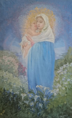 Oil on canvas, Virgin with Child, picture from a famous painter, Alicante, Valencia, Spain, 1933.