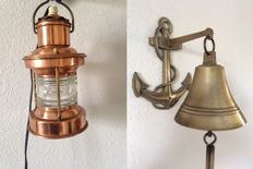 Large ship's bell with bracket and boat lamp with special glass, copper - 20th century.