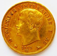 Kingdom of Italy, 40 Lire 1814, Milan, Napoleon - gold