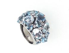 Capriotti Gioielli - Shank ring with aquamarine, 18 kt white gold, aquamarine for 20.13 ct, diamonds for 0.20 ct