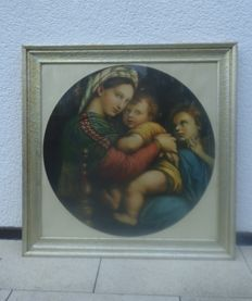 Old print Madonna della Sedia, art prints after Raphael