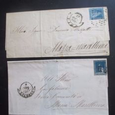 Toscana 1851/1859 two letters with 2 cr and 6 cr. – Sass, NN. 5 and 15a
